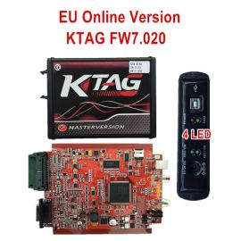 New 4LED Red PCB KTAG 7.020 EU Online Version SW V2.23 No Token Limited Support Full Protocols
