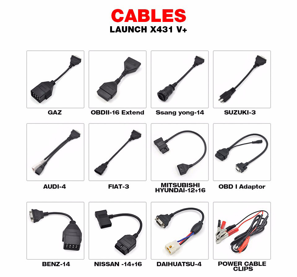 Launch X431 Pro3 Cables